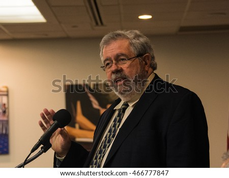 Washington, DC - August 4, 2016: Pulitzer Prize reporter David Cay Johnston speaks about his new book, The Making of Donald Trump, at the National Press Club.