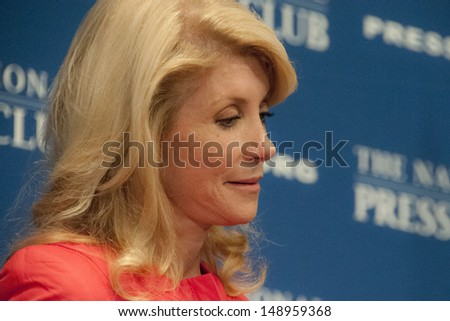 WASHINGTON, DC - AUGUST 5: Texas State Senator Wendy Davis speaks to the National Press Club, August 5, 2013 in Washington, DC - stock photo