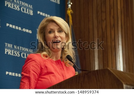 WASHINGTON, DC - AUGUST 5: Texas State Senator Wendy Davis speaks to the National Press Club, August 5, 2013 in Washington, DC - stock photo