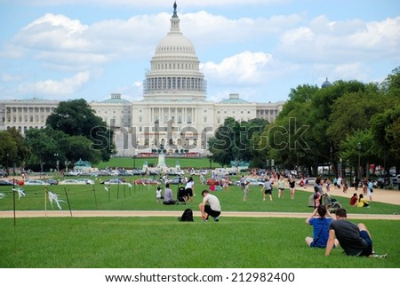 WASHINGTON, DC - AUGUST 24, 2014: The United States Capitol which is located on the eastern side of the National Mall and is the seat of the US Congress. - stock photo