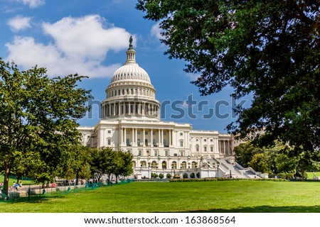WASHINGTON, DC - AUGUST 13: US Capitol on August 13 2013. US Capitol, meeting place of the Senate and the House of Representatives, is one of the most recognizable historic buildings in Washington DC