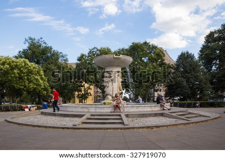 WASHINGTON, DC - AUGUST 8, 2015:  View of fountain at Dupont Circle in Washington DC.  - stock photo