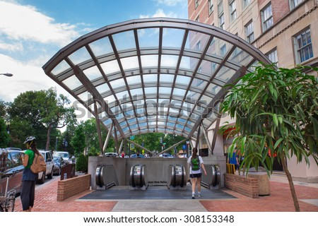 WASHINGTON DC  - AUGUST 8, 2015: View of subway entrance at Dupont Circle in Washington DC . - stock photo