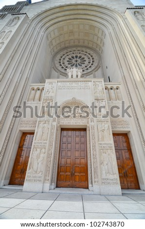 Washington DC - Basilica of the National Shrine of the Immaculate Conception - Main gate - stock photo