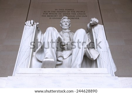 Washington DC, capital city of the United States. Abraham Lincoln memorial.