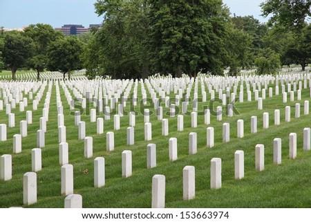 Washington DC, capital city of the United States. Arlington National Cemetery. - stock photo