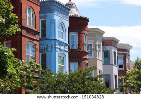 Washington DC, capital city of the United States. Capitol Hill district with colorful townhouses. - stock photo