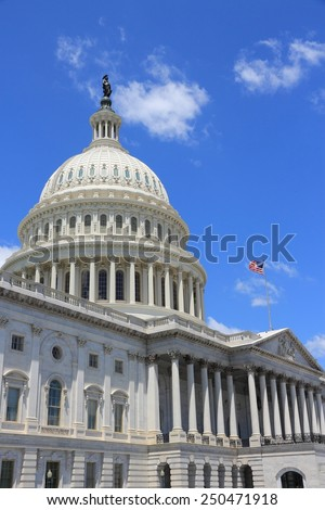 Washington DC, capital city of the United States. National Capitol building with US flag. - stock photo
