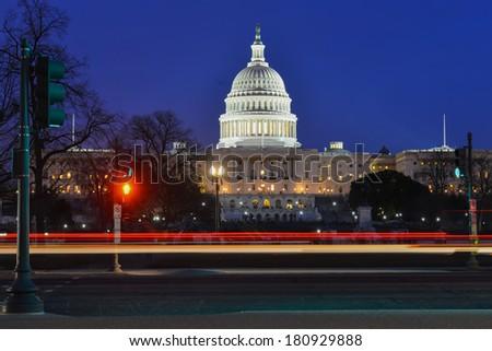 Washington DC - Capitol building at night - stock photo
