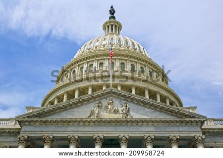 Washington DC, Capitol Building, close up view. USA