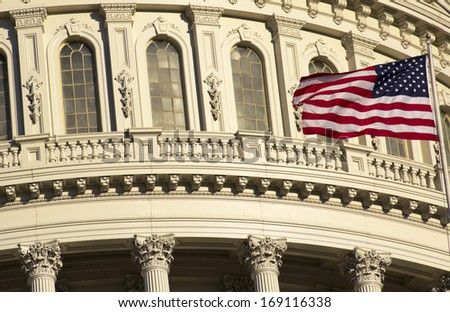 Washington DC , Capitol Building with American Flag - detail, US - stock photo