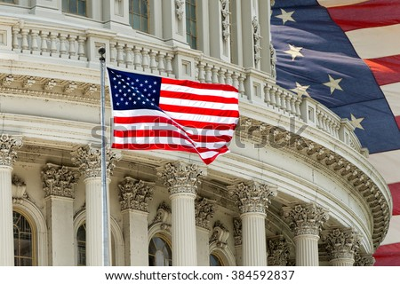 Washington DC Capitol dome detail on american flag background