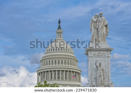 Washington DC Capitol dome view from the mall - stock photo