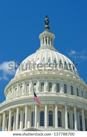 Washington DC Capitol on deep blue sky background - stock photo