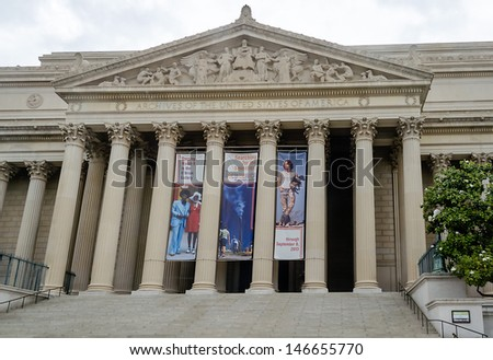 WASHINGTON DC - CIRCA MAY 2013: The National Archives and Records Administration in Wash DC, USA, circa May 2013. It is an agency of the US government which preserves government and historical records - stock photo