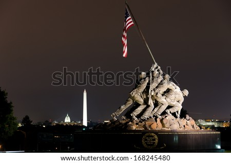 WASHINGTON, DC - CIRCA OCTOBER 2011: Iwo Jima Memorial in Washington, DC. The Memorial honors the Marines who have died defending the US since 1775.and a prominent tourist attraction point.  - stock photo