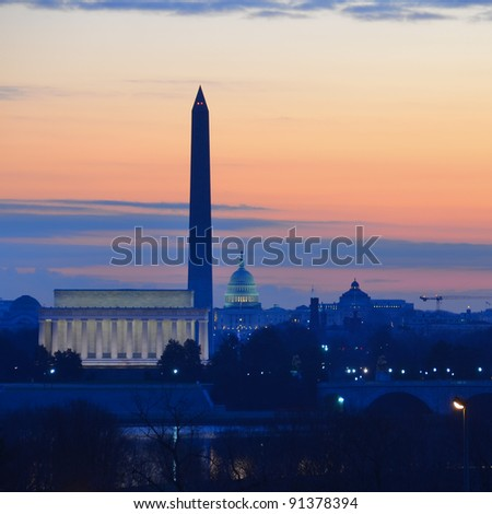 Washington DC city view in sunrise, including Lincoln Memorial, Monument and Capitol building