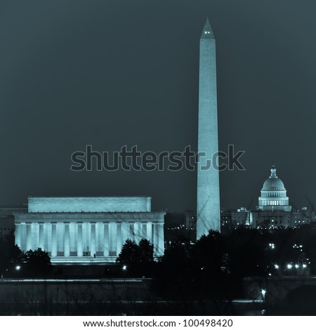 Washington DC city view  including Lincoln Memorial, Monument and Capitol building - stock photo