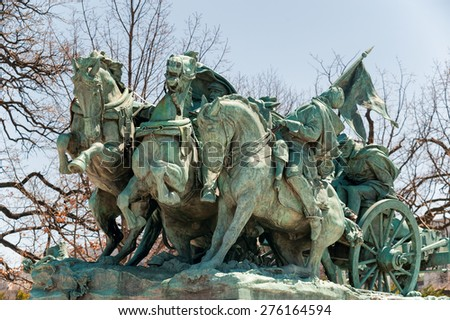 Washington DC - Civil War cavalry Statue near the Ulysses S. Grant Memorial in front o the US Capitol Building - stock photo