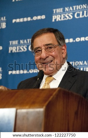 WASHINGTON, DC - DEC. 18: Secretary of Defense Leon Panetta addresses a luncheon at the National Press Club, December 18, 2012 in Washington, DC - stock photo
