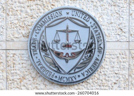 WASHINGTON, DC - DECEMBER 26: Seal of the Federal Trade Commission in downtown Washington, DC on December 26, 2014.