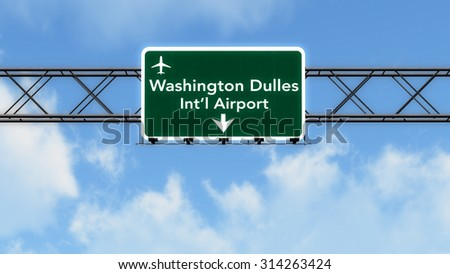 Washington DC Dulles USA Airport Highway Sign 3D Illustration