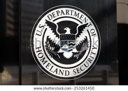 WASHINGTON, DC - FEBRUARY 15: Department of Homeland Security Seal located outside the US Immigration and Customs Enforcement Headquarters in Washington, DC on February 15, 2015.