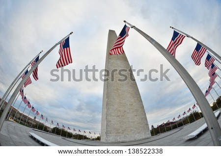 Washington DC -  Fisheye lens view of Washington Monument - stock photo