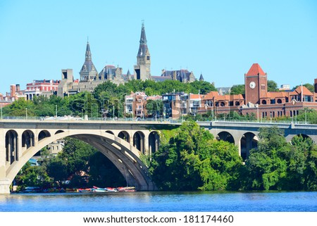 Washington DC - Georgetown and Key Bridge - stock photo