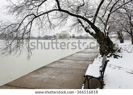 Washington DC in snow - Jefferson Memorial - stock photo