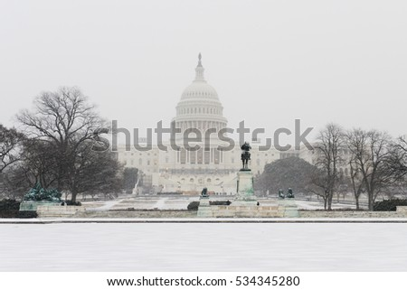 Washington DC in Winter - The Capitol in snow blizzard