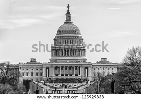 WASHINGTON DC - JANUARY 21:Capitol  seen on at day of Inauguration 44th President of US Barack Obama on January 21 2013 Capitol is meeting place of the US Congress Capitol Construction started in 1793