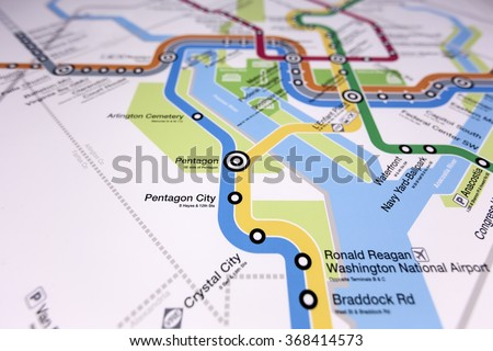 WASHINGTON DC. JANUARY 15 2016. Interactive Map Washington, DC center of city. Downtown monuments, museums. Explore neighborhood. Editorial use only