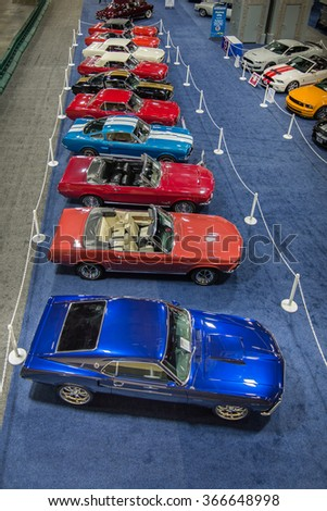 WASHINGTON, DC - JANUARY 21, 2016: Mustang Alley at the Washington, D.C. Auto Show (WAS), one of the largest auto shows in North America. - stock photo