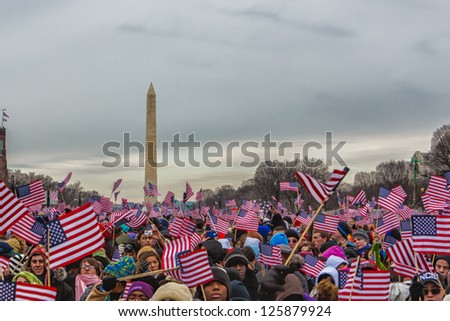 WASHINGTON DC - JANUARY 21:Scene from Washington DC during the President Barack Obama Inauguration on January 21 2013 Obama is 44th president of USA and serves second term, it was 47th Inauguration - stock photo