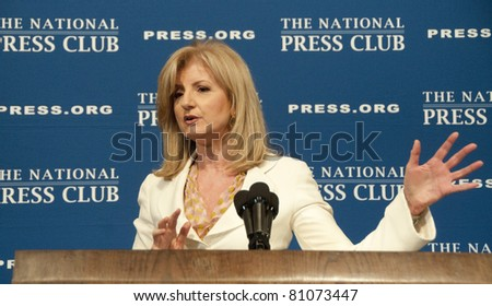 WASHINGTON, DC – JULY 15:  Arianna Huffington, president and editor-in-chief of the AOL Huffington Post Media Group, speaks to a luncheon at the National Press Club, July 15, 2011 in Washington, DC