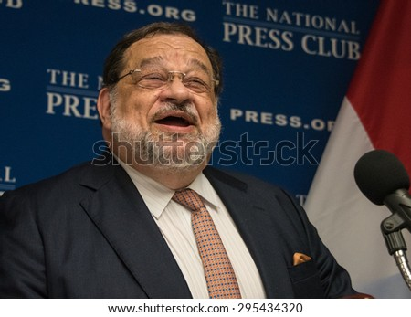 Washington, DC - July 10, 2015: Jean-Louis Wolzfeld, Ambassador of Luxembourg to the  United States, speaks on European Union priorities at the National Press Club - stock photo