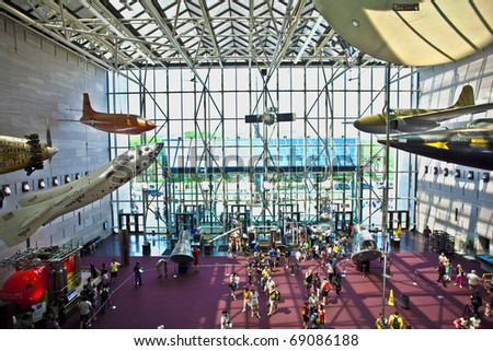 WASHINGTON DC - JULY 10: National Air and Space museum in Washington  holds the largest collection of historic aircraft and spacecraft in the world. Open for public at July 14,2010, Washington, USA. - stock photo