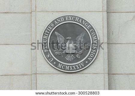 WASHINGTON, DC - JULY  17: Sign at the U.S. Securities and Exchange Commission in Washington, DC on July 17, 2015.