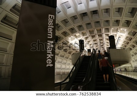 WASHINGTON, DC - 21 JUN: Metro Station in Washington, DC, the United States on 21 June 2017