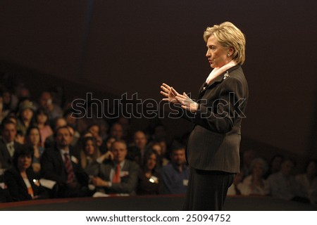 WASHINGTON, DC - JUNE 4: Hillary Clinton speaks to the audience during CNN and Sojourners' forum on faith, values, and poverty on June 4, 2007.