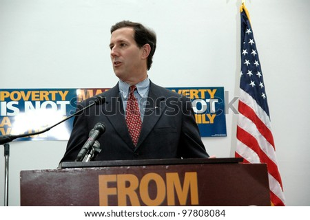 """WASHINGTON, DC - JUNE 26: Senator Rick Santorum (R-PA) speaks at Call to Renewal's """"Pentecost 2006: Building a Covenant for a New America"""", a faith-based anti-poverty conference on June 26, 2006. - stock photo"""