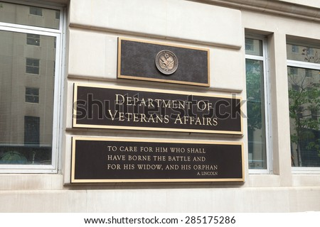 WASHINGTON, DC - JUNE 6: Signage at the Department of Veterans Affairs in Washington, DC on June 6, 2015. It includes a quote about caring for him wounded in battle and his widow and his orphan.