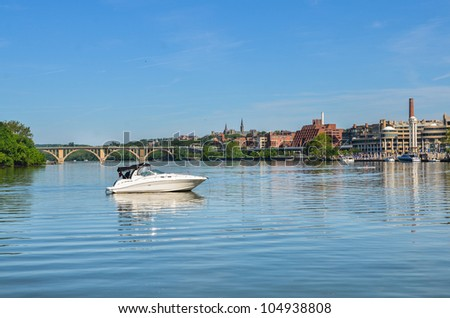 Washington DC - Key Bridge and Georgetown with Potomac River view - stock photo