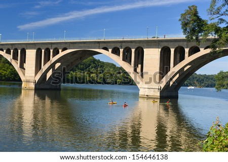 Washington DC, Key Bridge and reflection over Potomac River - stock photo
