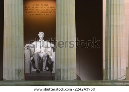Washington DC - Lincoln Memorial at night - stock photo