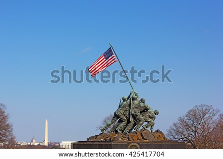 WASHINGTON, DC - MARCH 21, 2015: Marine Corps War Memorial in Washington, DC on March 21, 2015. Better known as The Iwo Jima Memorial, it dedicated to all marines who have given their lives in battle. - stock photo