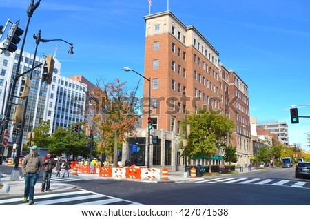 WASHINGTON, DC-MAY 08:Downtown Washington DC Historic Architecture on May 8, 2016 in Washington DC,USA.Washington DC has many historic buildings, and monuments, and many people come to visit - stock photo