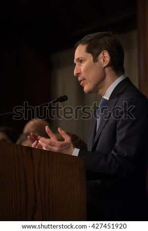 WASHINGTON, DC - May 26, 2016. Dr. Tom Frieden, directior of the U.S. Centers for Disease Control, speaks on the Zika virus at a National Press Club luncheon