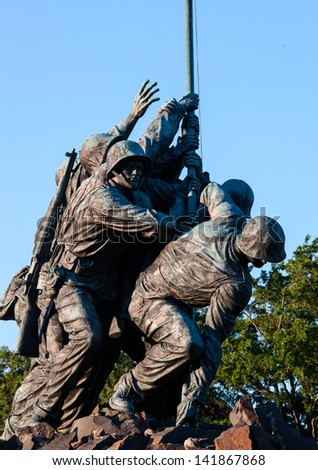 WASHINGTON, DC - MAY 20 2013: Iwo Jima Memorial in Washington, DC on May 20, 2013. The Memorial honors the Marines who have died defending the US since 1775. - stock photo